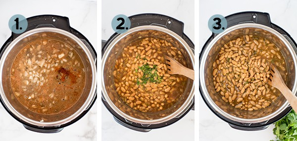 step by step collage of how to make white beans in the instant Pot