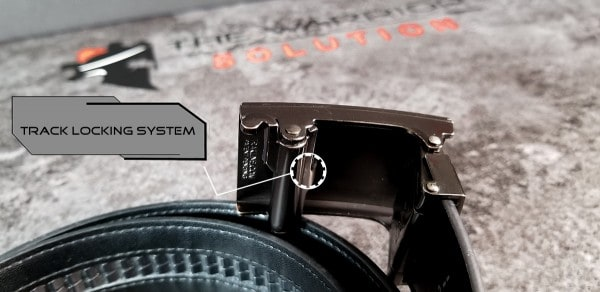 Kore Essentials Leather Gun Belt close up view of X2 buckle track locking system
