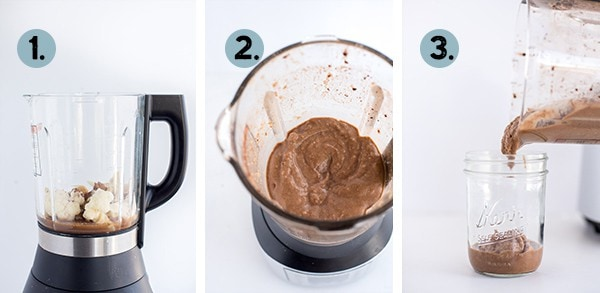step by step collage of how to make a Crio Bru Smoothie