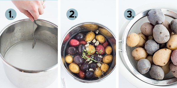 step by step collage of how to make instant pot salt potatoes
