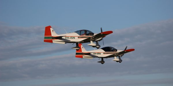 AAA Robin 2160 flight training aircraft in formation