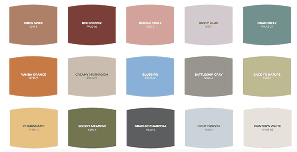 Behr's color palette.