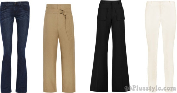 Tips on which pants are most flattering for the rectangular body shape | 40plusstyle.com