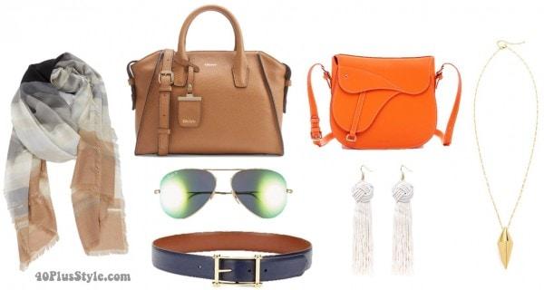 Spring Accessories Saddlebag Aviators Scarf Jewelry | 40plusstyle.com