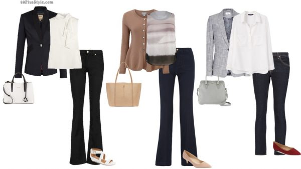 jeans office work looks traditional conservative blazer pumps | 40plusstyle.com