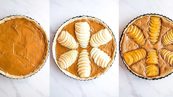 Pear almond tart progression with frangipane filling, fresh pear topping, and baked tart