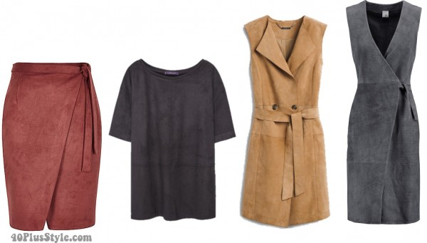 suede skirt dress shirt spring style | 40plusstyle.com
