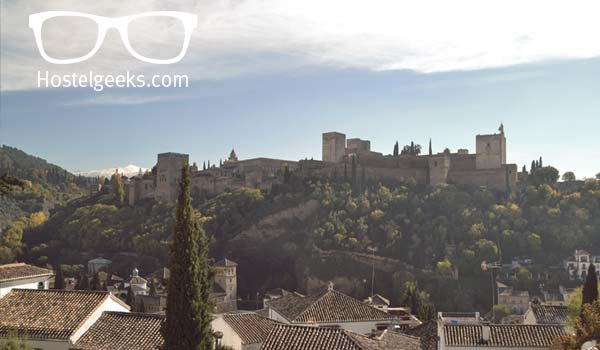 View from Albayzin to the beautiful Alhambra in Granada