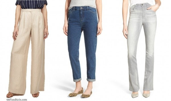highwaist rise pants jeans length hem | 40plusstyle.com