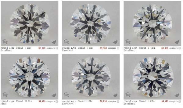 Examples of contrast in round brilliant ideal cut diamonds via James Allen