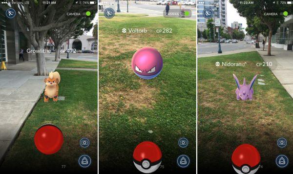 Drie soorten Pokémon die je in de game kunt vangen.