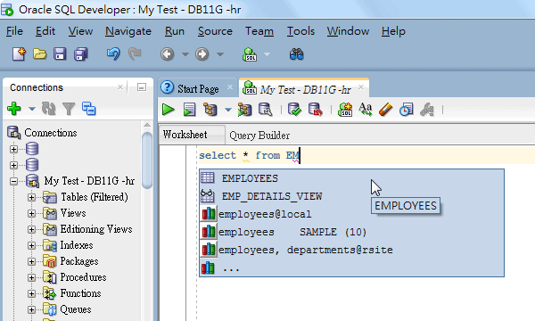 Autocomplete Table Name in SQL Developer Editor so as to Avoid ORA-00942