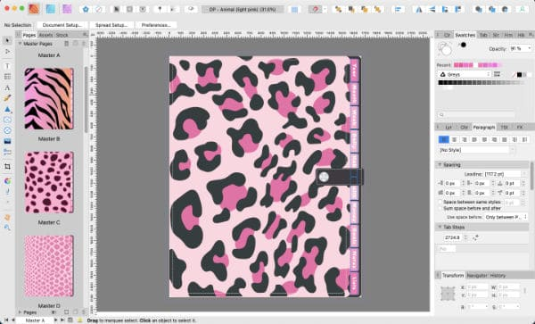 Screenshot of Pink Animal Digital Planner in Affinity Publisher