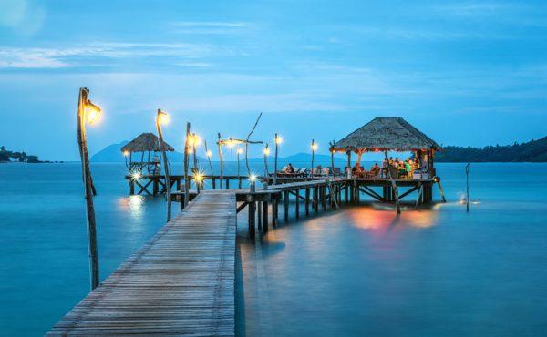 Beach bungalow caribbean jetty