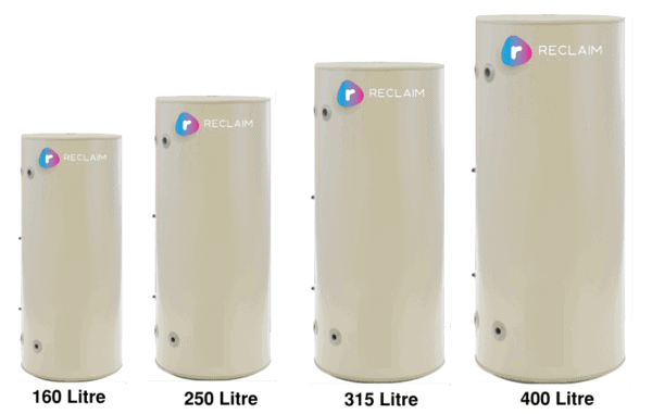 Reclaim Energy Co2 hot water heat pump tank sizes