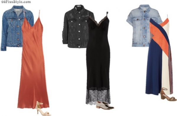 Wearing a slip dress with a jeans jacket - Only one of 7 ways to wear a slip dress! | 40plusstyle.com
