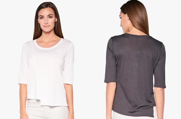 Short asymmetrical t-shirt | 40plusstyle.com