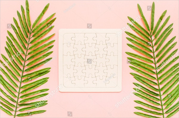 Palm Leaves Summer Puzzle Mockup