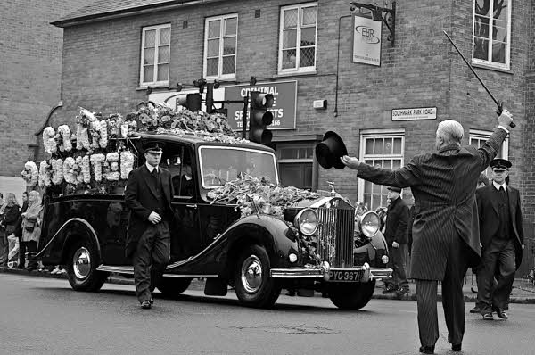 The picture of Jade Goody's funeral procession in the Blue, Bermondsey was taken by Steve Punter and is reproduced under a Creative Commons Attribution-Share Alike 2.0 Generic Licence