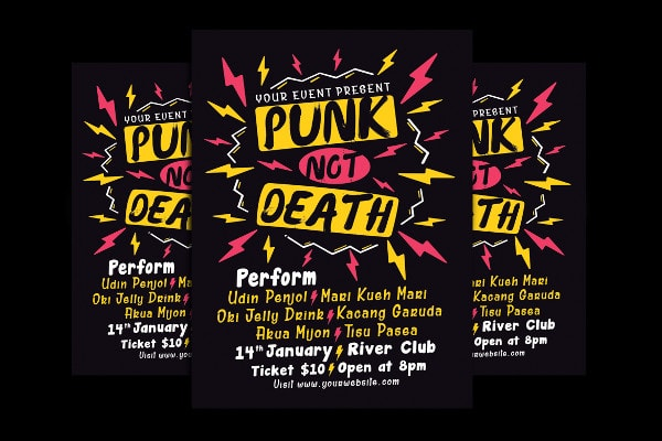 Printable Punk Flyer Template