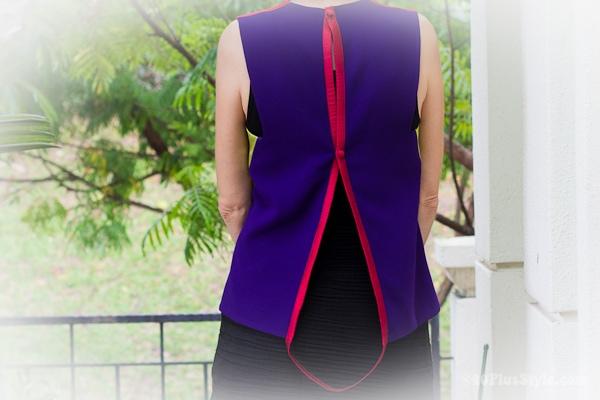 purple green silk top