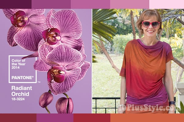 How to wear radiant orchid - take inspiration from photos! | 40PlusStyle.com
