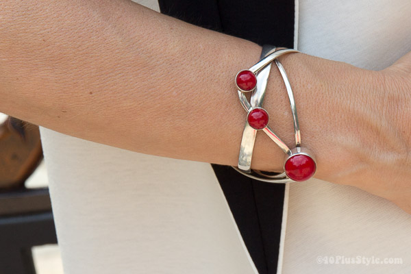 sterling silver coral cuff from Jewelry to your Doorstep | 40plusstyle.com