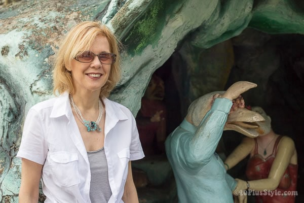 Wearing gray and white in Haw Par Villa | Singapore