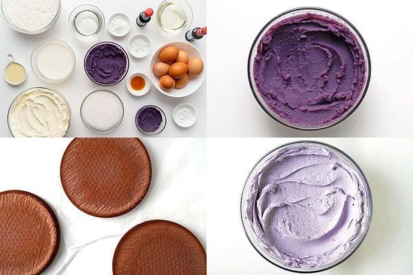 Image collage of ube cake ingredients, ube puree, ube chiffon cake layers, ube halaya frosting