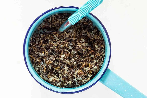 Cooked Wild Rice in Saucepan