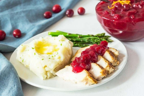 Cranberry Sauce over Turkey Slices