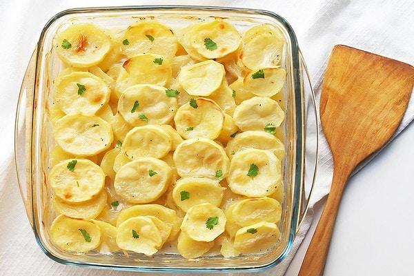Vegan Scalloped Potatoes in Baking Dish