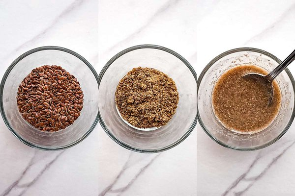Three small glass bowls with flax seeds, flax meal, and flax egg