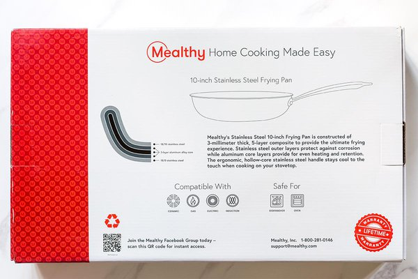 Info on box of Mealthy Frying Pan