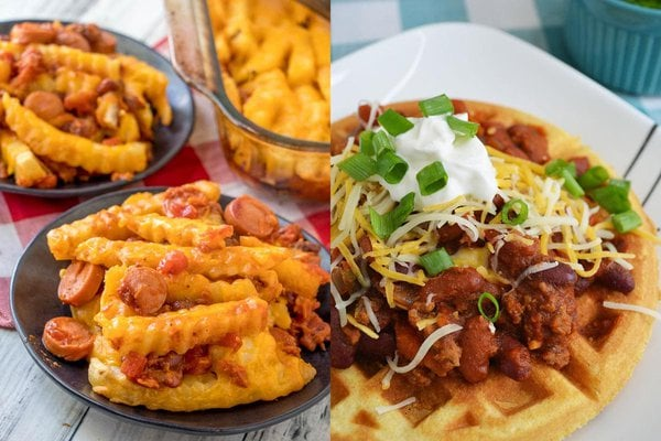 Chili dog fries and waffles