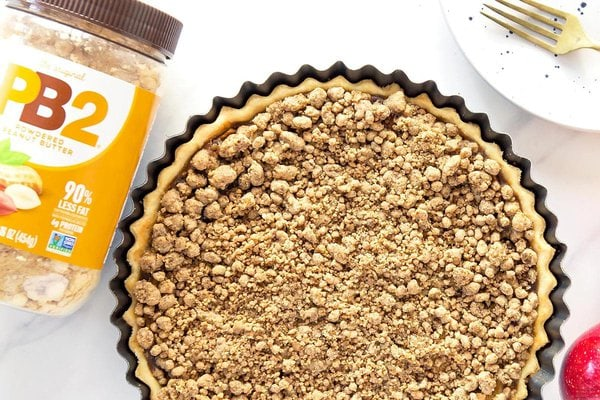 Baked Peanut Butter Apple Pie with peanut powder container
