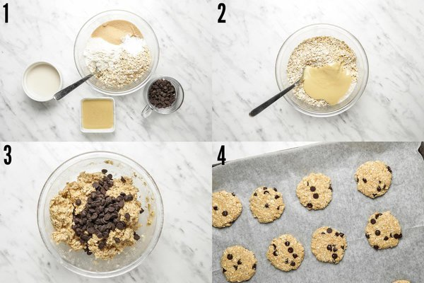 Step by step photo collage of how to make coconut flour oat cookies