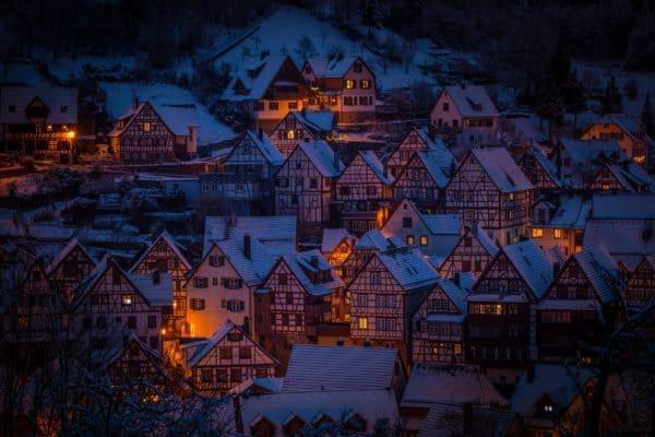 architecture, fachwerkhäuser, night