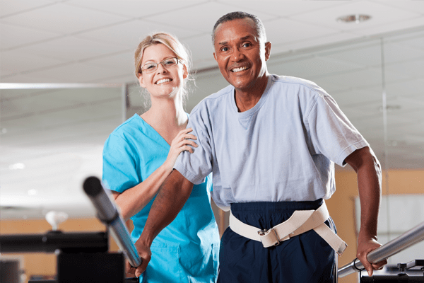 nurse and patient in rehabilitation