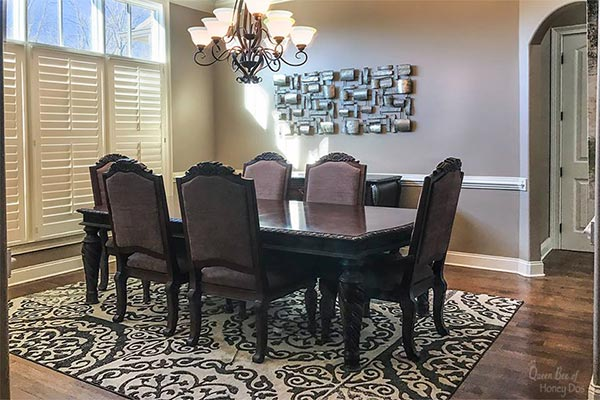 dining room with Tony Taupe paint