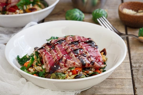 Ahi tuna with roasted winter vegetable couscous