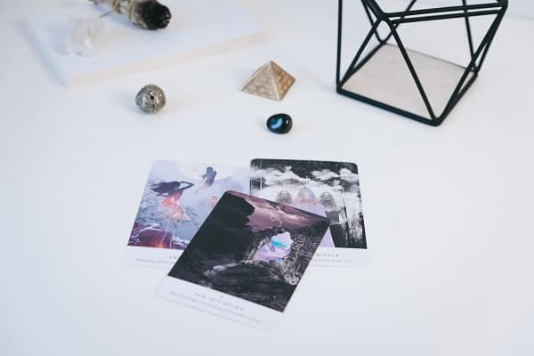 tarot cards on white surface