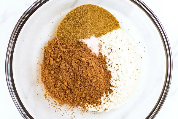 Dry pie shell ingredients in mixing bowl