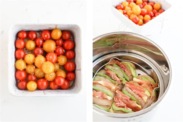 Step by step photos of how to prepare hasselback chicken. Top down shot of instant pot