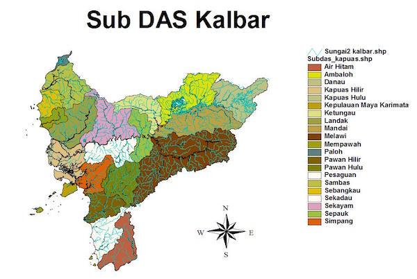 Peta Sub Daerah Aliran Sungai di Kalimantan Barat
