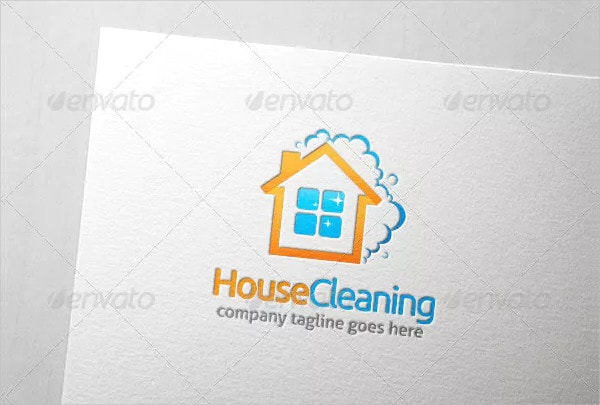 Unique House Cleaning Logo Template