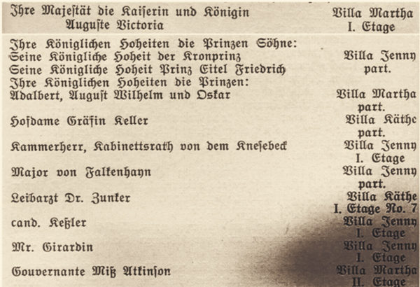 List of guests during the imperial visit, 1890, © City Archives and City Library Sassnitz
