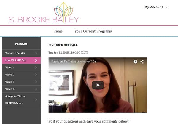 Screenshot of Brooke's Live Video Recording