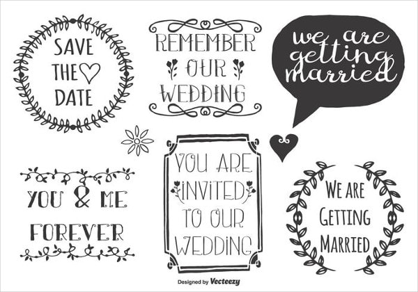 Cute Wedding Doodle Labels Free Download