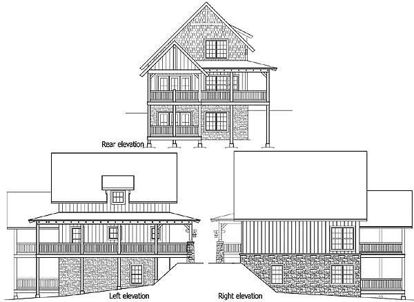 Elevation Small Rustic House Plan 18743CK
